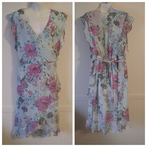A New Day Blue Floral Ruffled Faux Wrap Dress XL